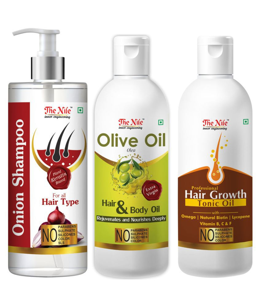 The Nile Red Onion Shampoo 200 ML +  Olive Oil 100 ML + Hair Tonic 100 ML  Shampoo 400 mL Pack of 3