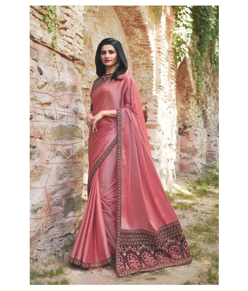 ofline selection Pink Silk Blends Saree