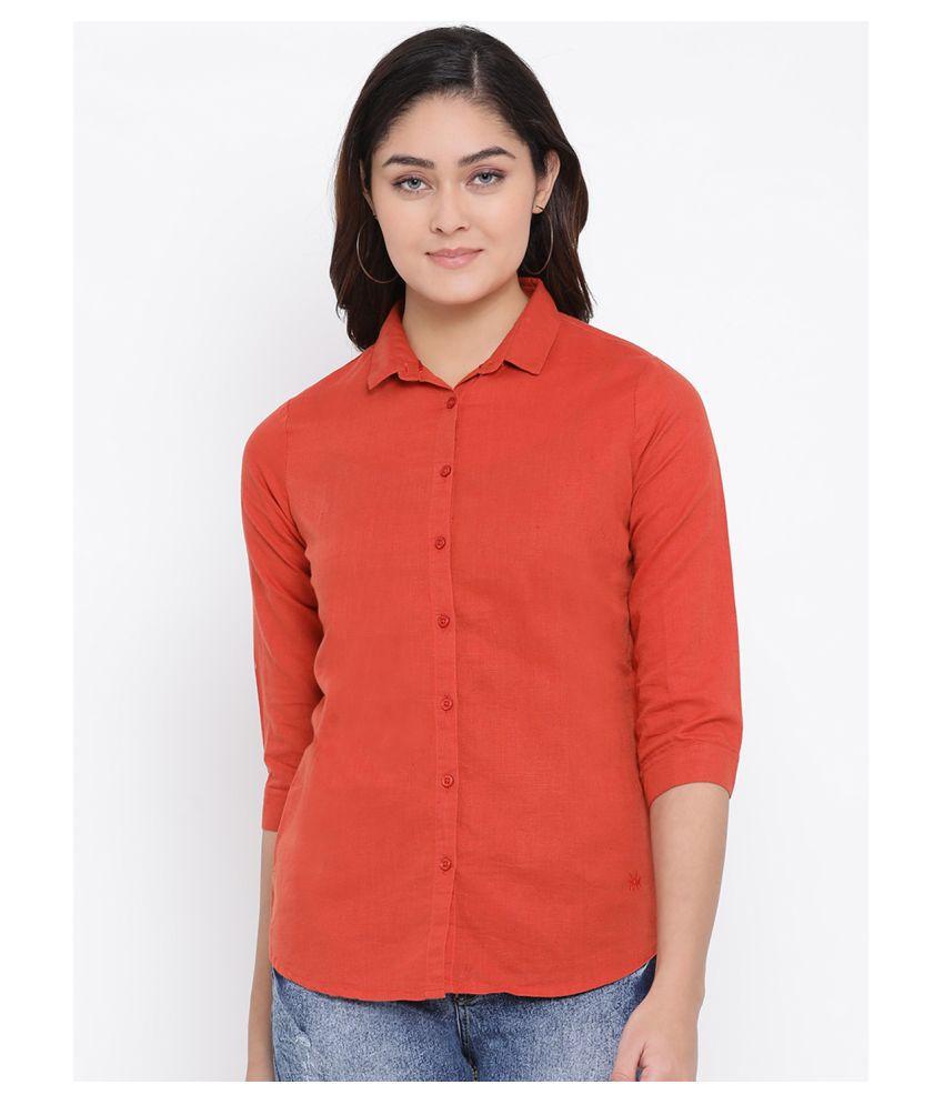 Crimsoune Club Red Linen Shirt