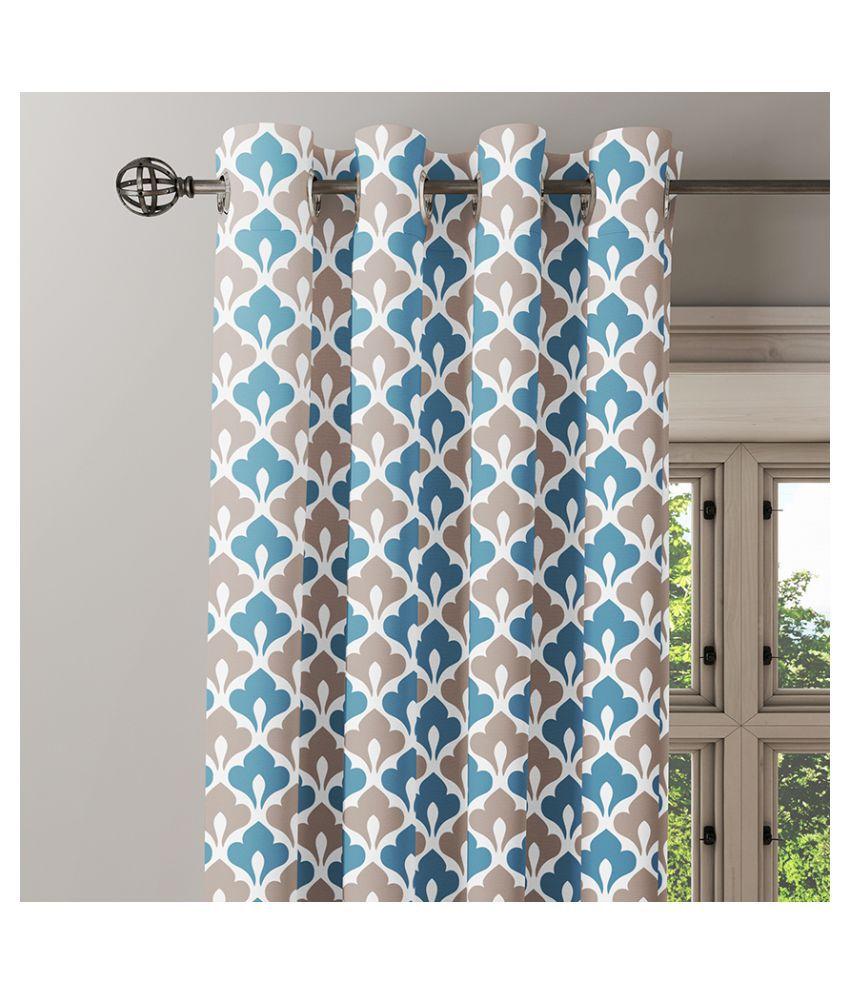 Ixora Decor Set of 2 Window Eyelet Cotton Curtains Blue