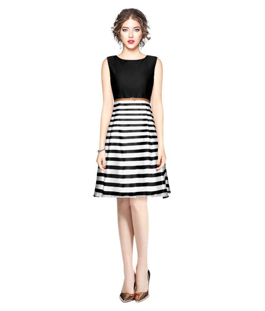 SAIRAJ FASHION Satin Black Fit And Flare Dress