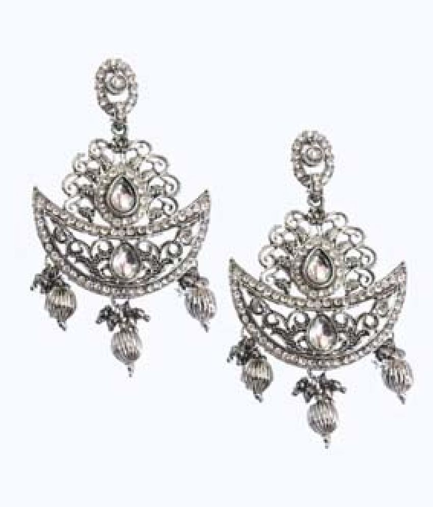 SILVER PLATED ANTIQUE CHANDBALIS FOR WOMEN