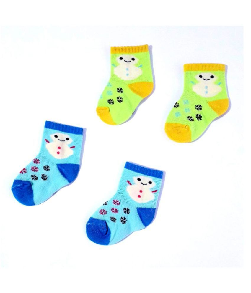Aster: 2 Pairs Socks Baby Infants Socks Assorted Kids Socks ( 2-12 Months) - Pack of 4, Made in INDIA.