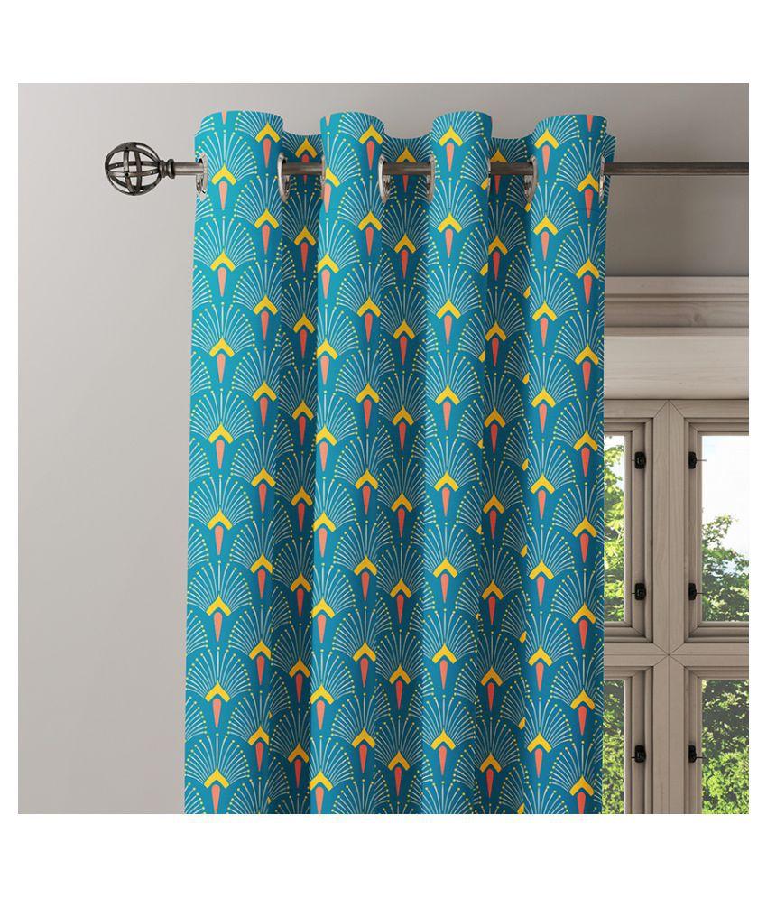 Ixora Decor Single Door Eyelet Cotton Curtains Blue