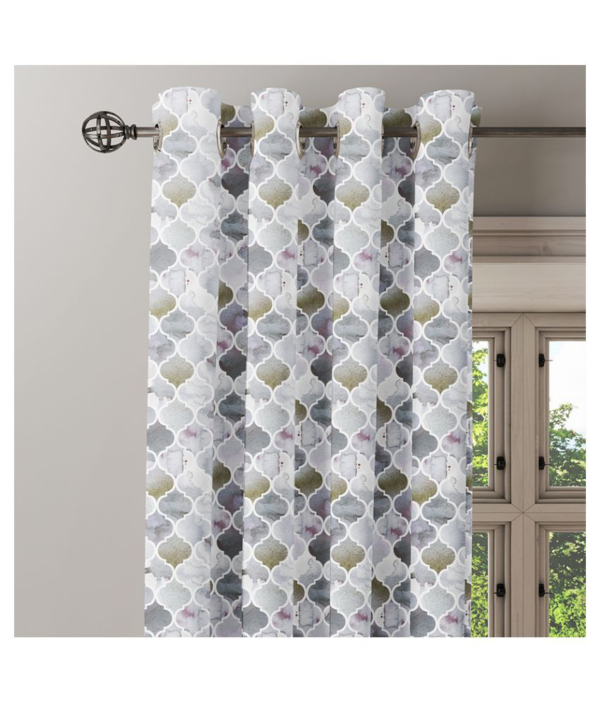 Ixora Decor Single Door Eyelet Cotton Curtains Grey