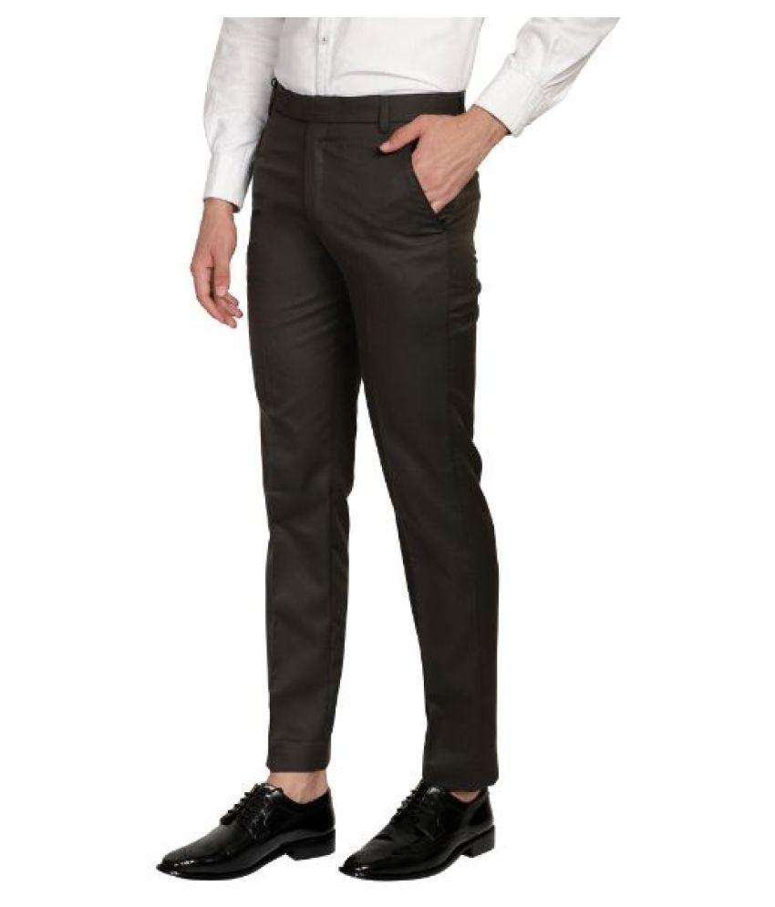 FOI Black Regular -Fit Flat Trousers