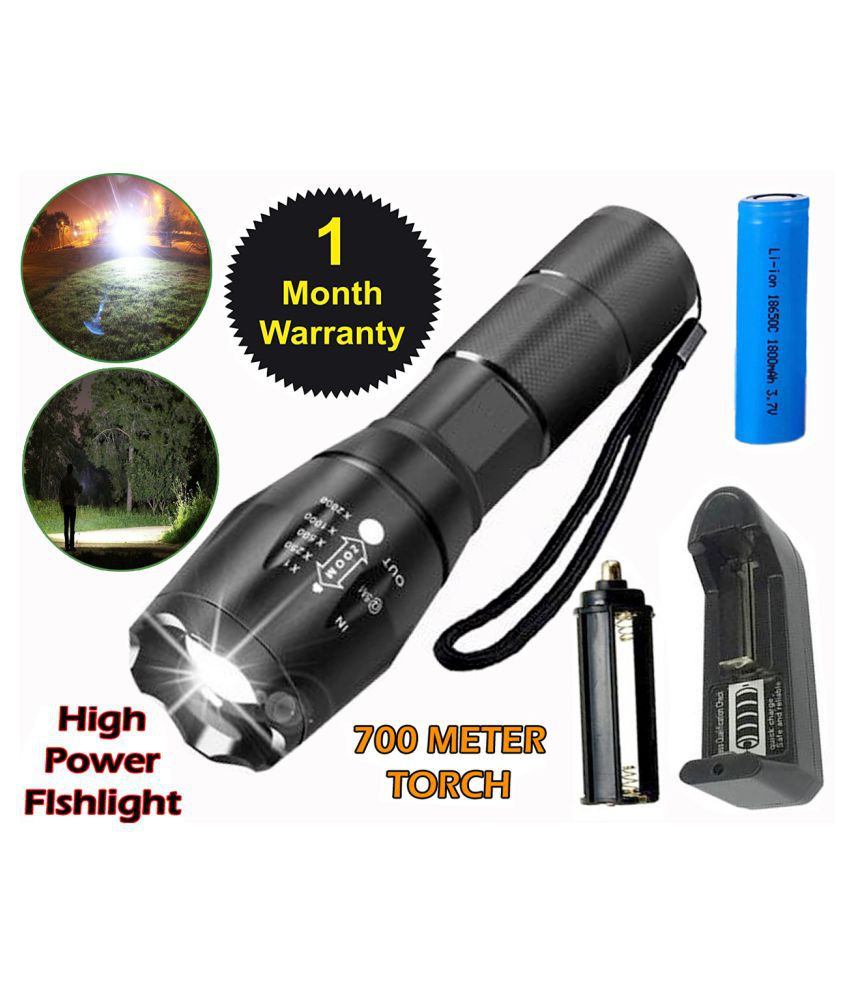 Professional LED Flashlight 5 Mode Zoomable and 3 Modes of Flashing Torch 15W 15W Flashlight Torch 700 meter Torch - Pack of 1