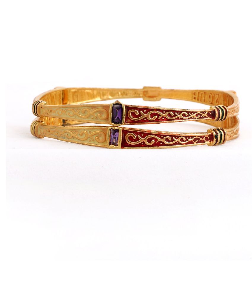 SHREEJI BANGLE DESIGNER GOLDPLATED ANTIQUE OXODISED RED SLIGHTLY GREEN MINA  BANGLES KADLI FOR WOMAN FOR WEDDING AND ALL OCCASION
