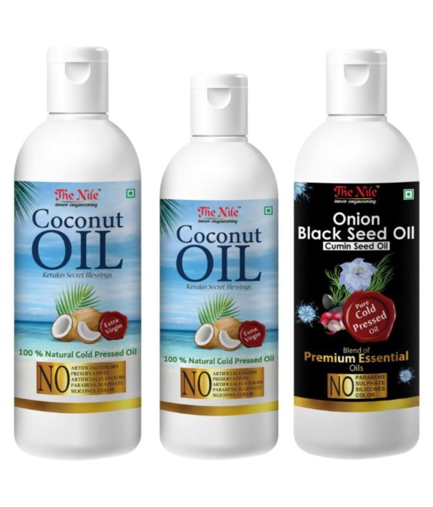 The Nile Coconut Oil 200 Ml + 100Ml(300 ML) +Onion Blackseed Oil 100 ML 400 mL Pack of 3