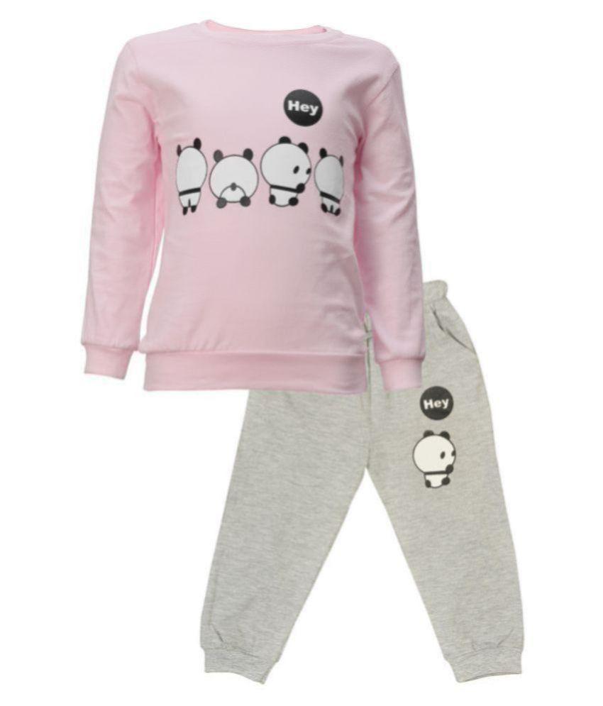 CATCUB Kids Panda Combo Top & Pant Set (Pink)