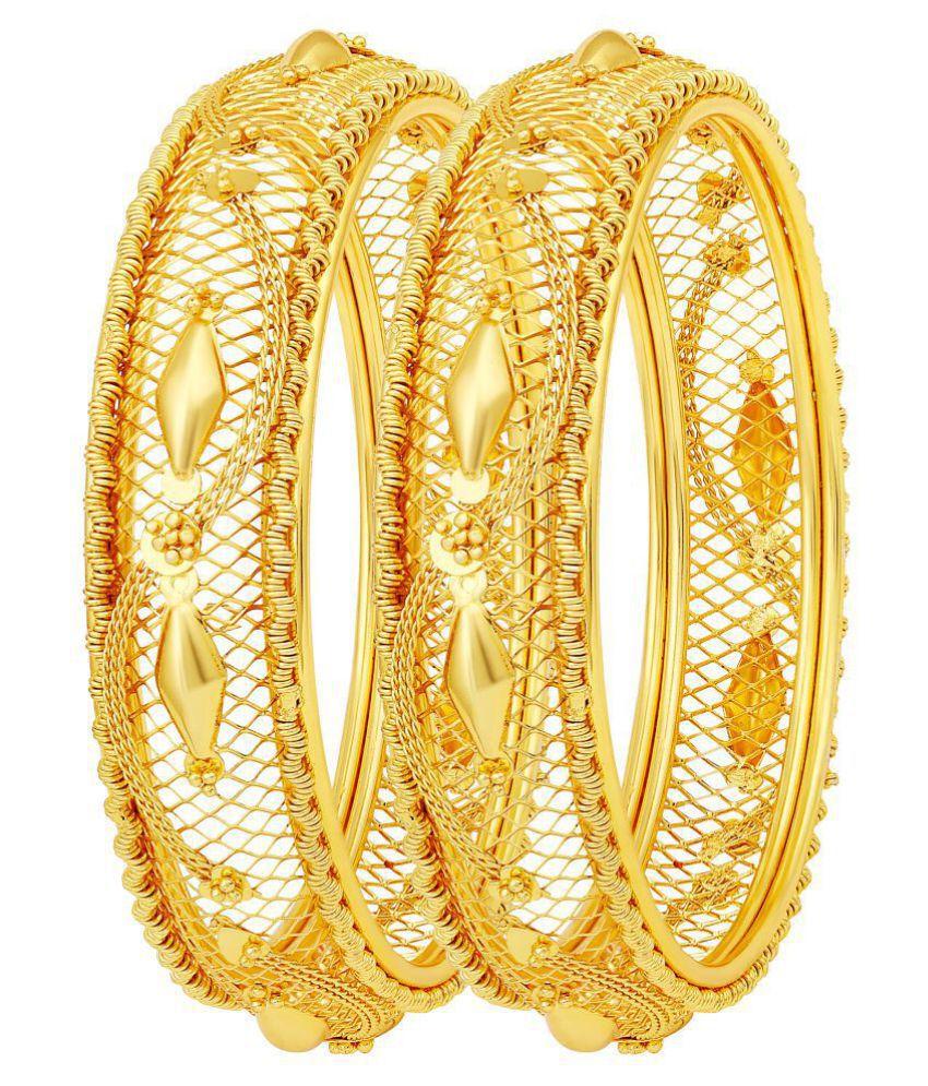 MFJ Fashion Jewellery Modern Brass Gold Plated Set Of 2 Bangle Set For Women