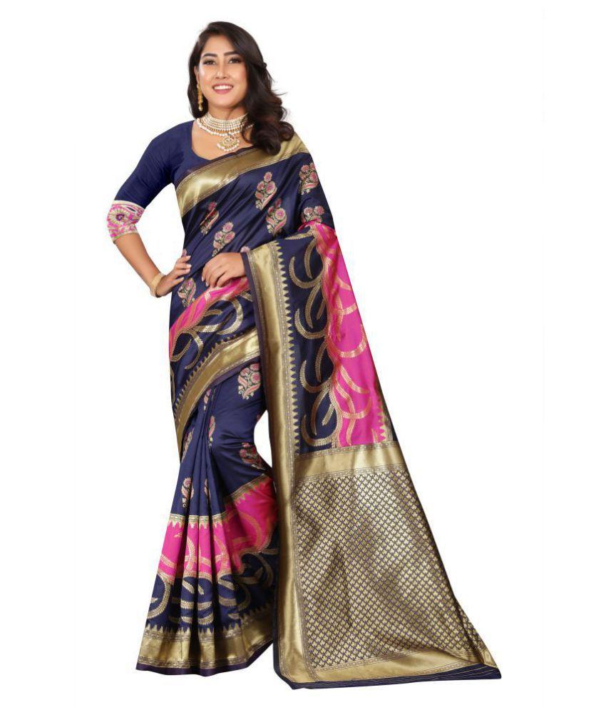 RECTIFIER ETHICAL SPOT Blue Banarasi Silk Saree