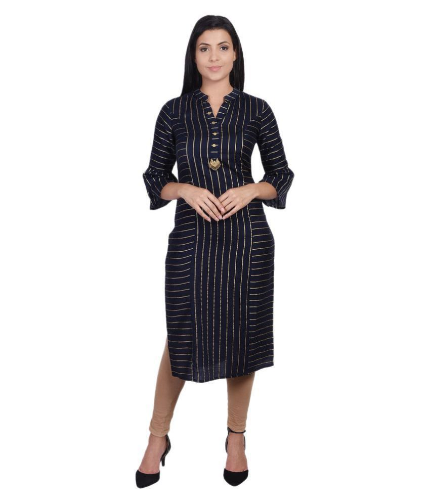 SVARCHI Navy Cotton Straight Kurti