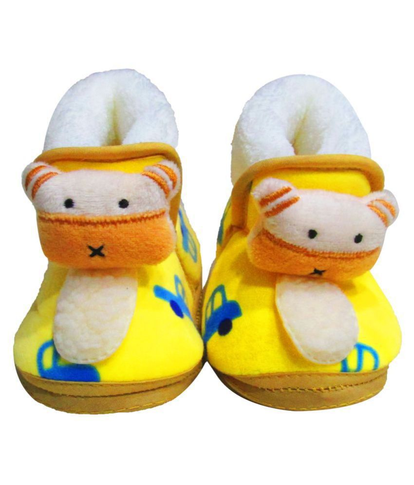 VBaby Teddy Car Soft Organic First Walking Shoes Baby Bootie With Rubber Sole for Baby Boys and Baby Girls