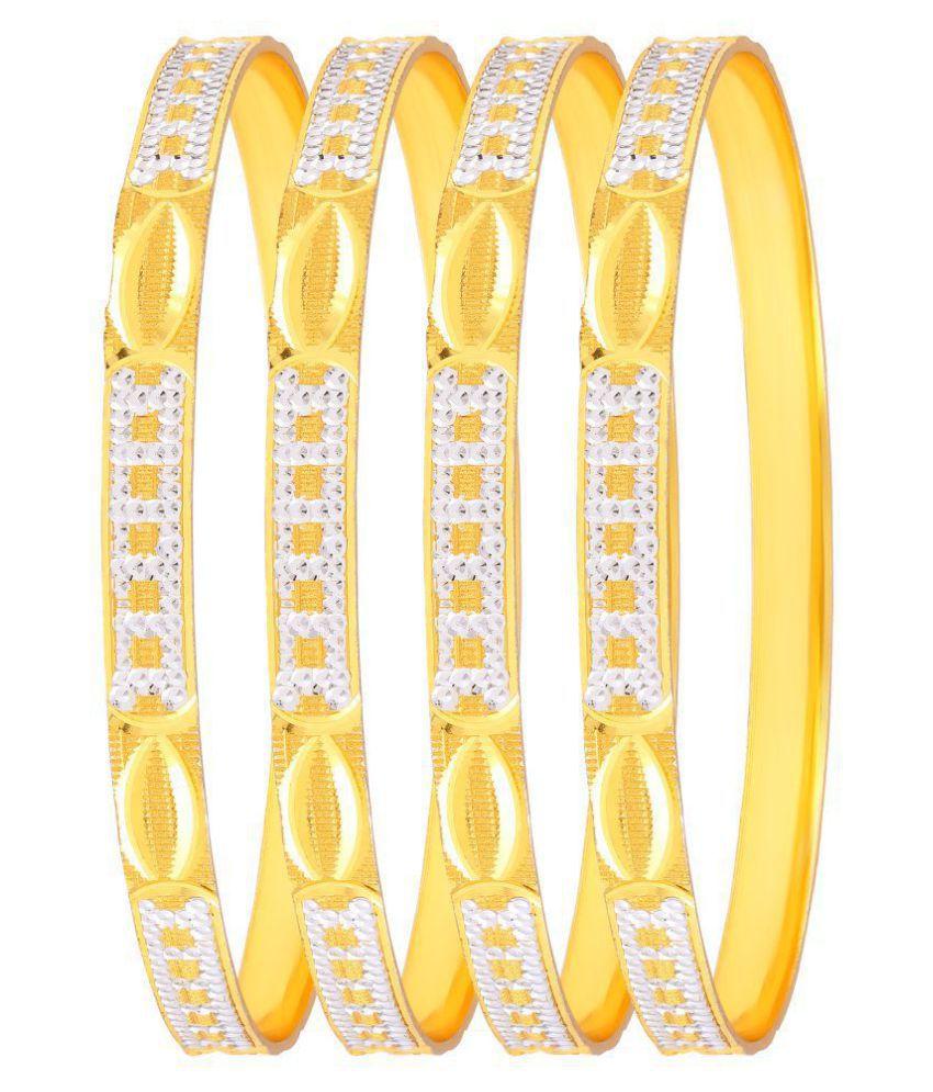 MFJ Fashion Jewellery Designer Collection Gold Plated CNC Lazer Bangle For Women (Set of 4)