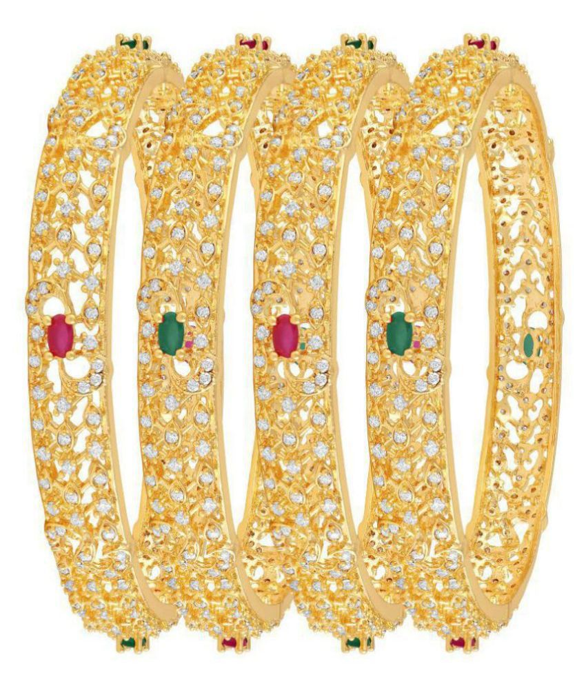 MFJ Fashion Jewellery Designer Collection American daimond Gold Plated Bangle For Women (Set of 4)