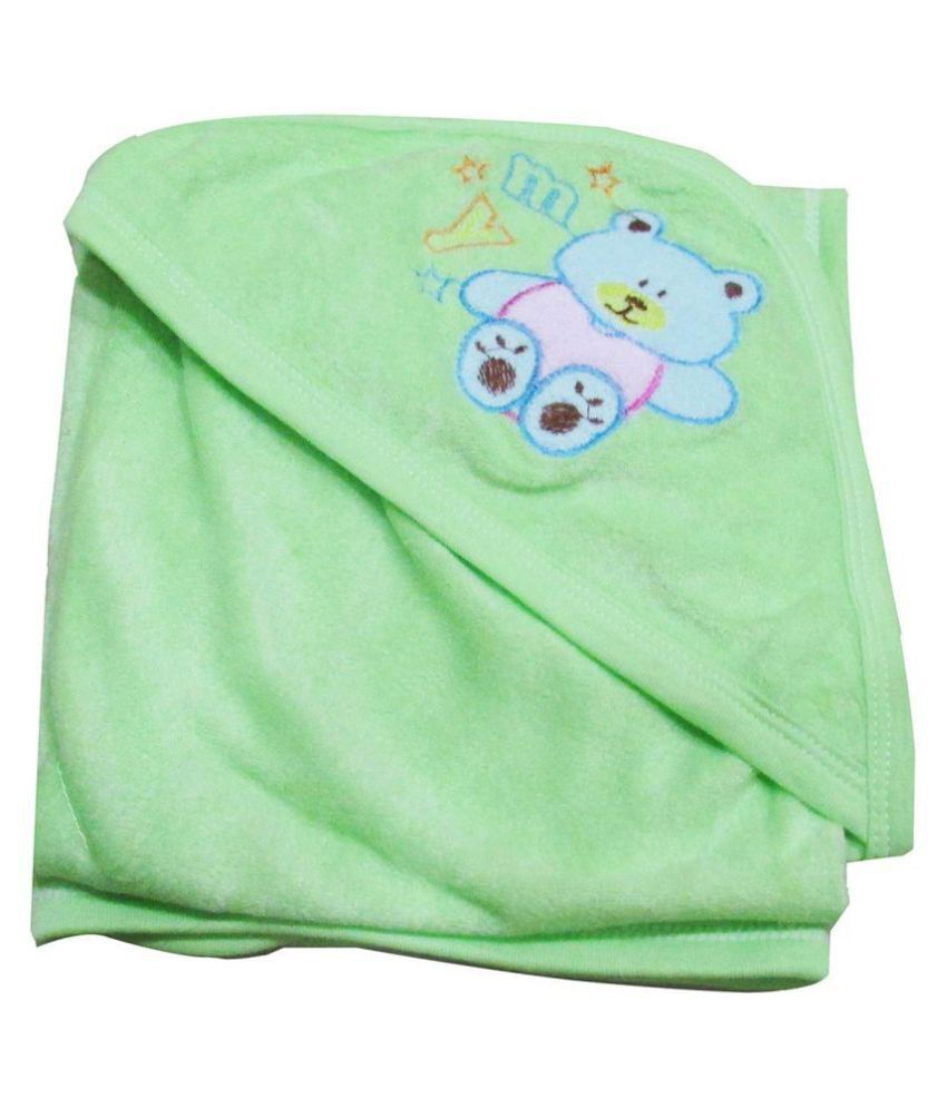VBaby Green Fleece Baby Blanket ( 73 cm × 73 cm- 1 pcs)