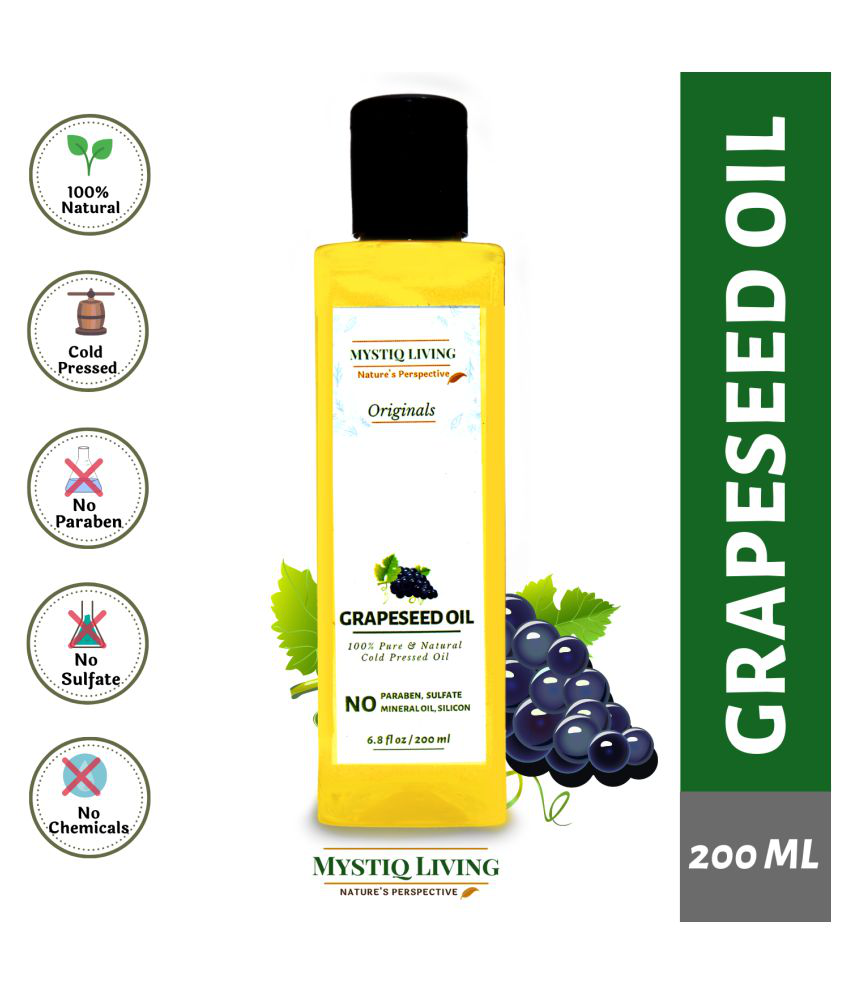 Mystiq Living Grapeseed Oil (Cold pressed) 100% Pure& Natural 200 mL