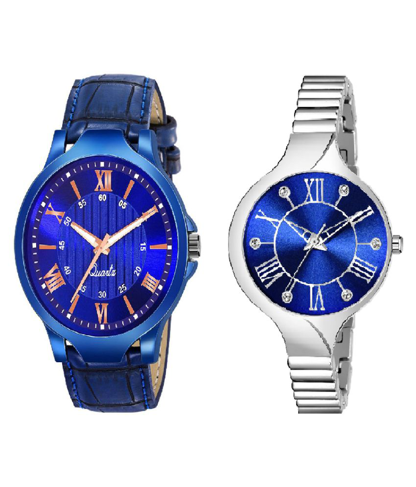 NEW ARRIVAL FANCY ANALOG COUPLE WATCH PACK OF - 2