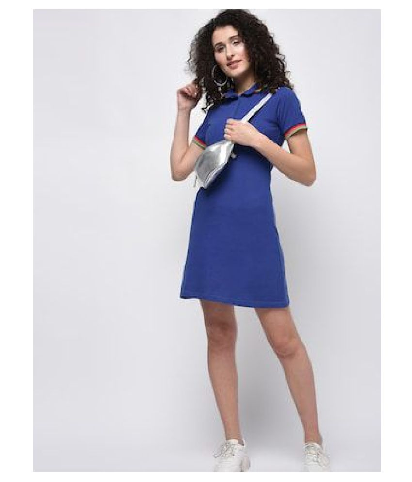 KAPOOR BROTHERS Cotton Blue A- line Dress