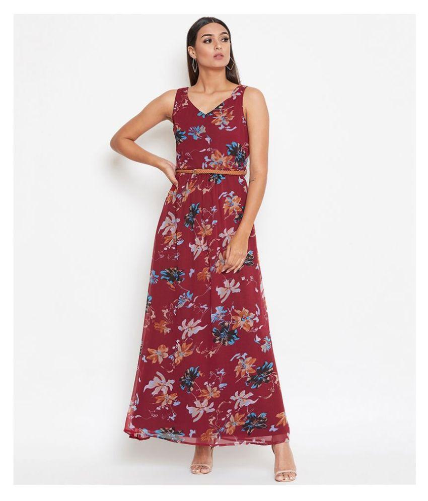 La Zoire Georgette Maroon Regular Dress
