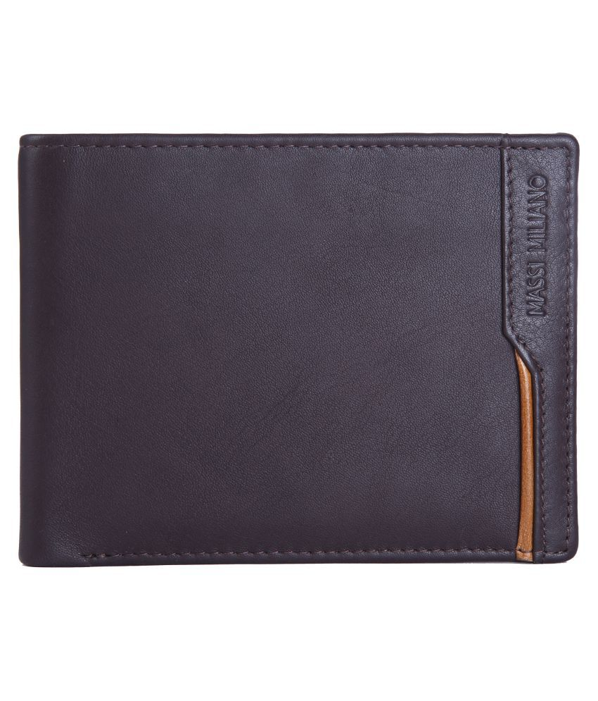 Massi Miliano Leather Brown Formal Anti-theft Wallet