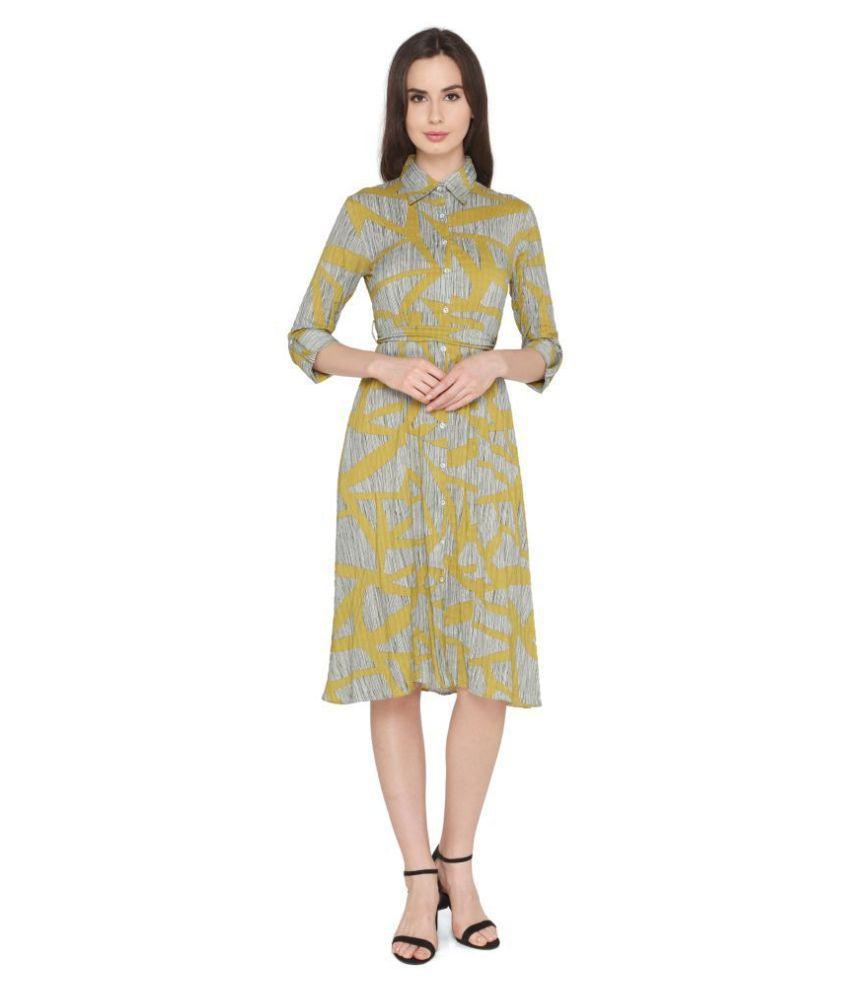 P Nut Casuals Polyester Yellow Regular Dress