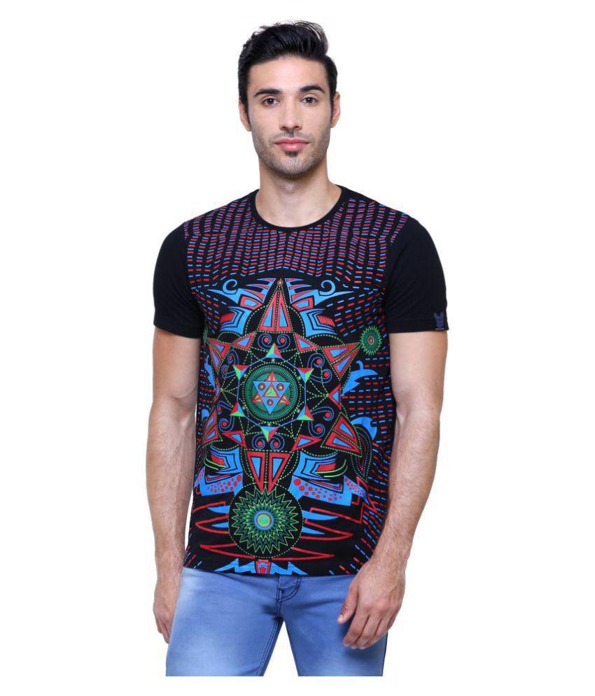 Space Culture 100 Percent Cotton Black Printed T-Shirt