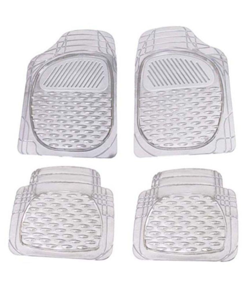 Autofetch Car Floor/Foot Mats (Set of 4) Transparent White for Chevrolet Sail UVA
