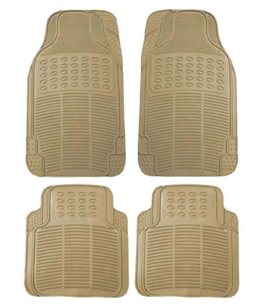Autofetch Rubber Car Floor/Foot Mats (Set of 4) Beige for Nissan Micra
