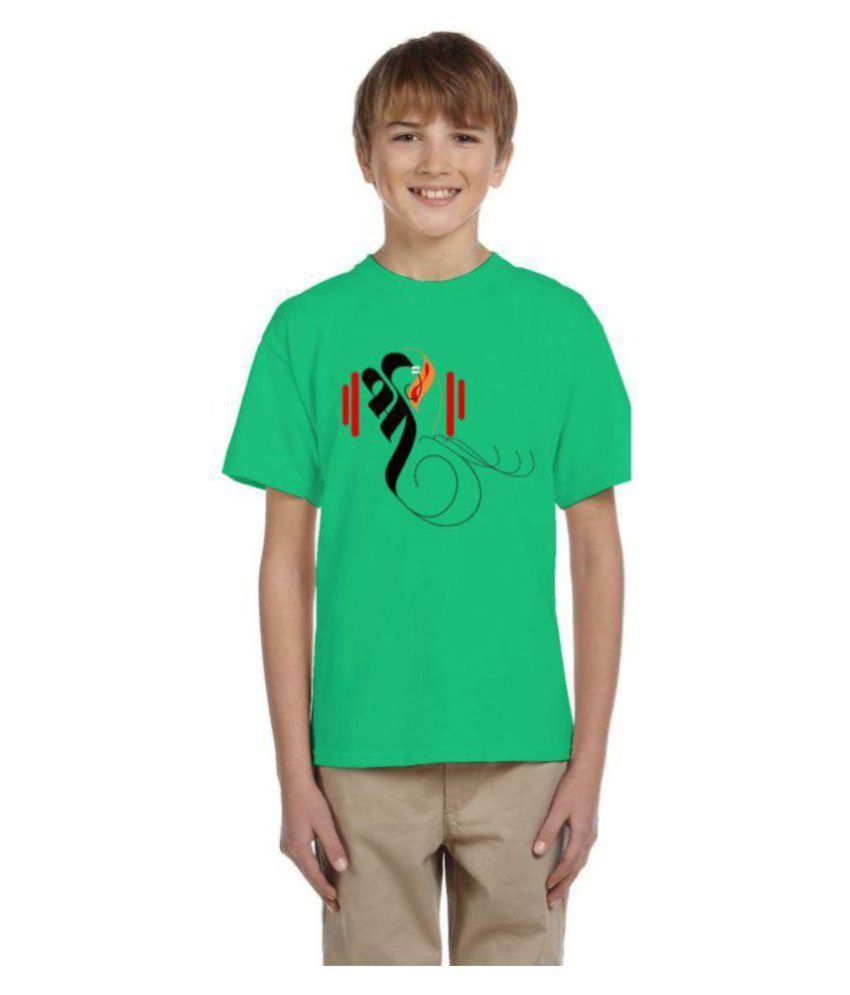 Neo Garments Boys Cotton Round Neck T Shirt   Shree  Green