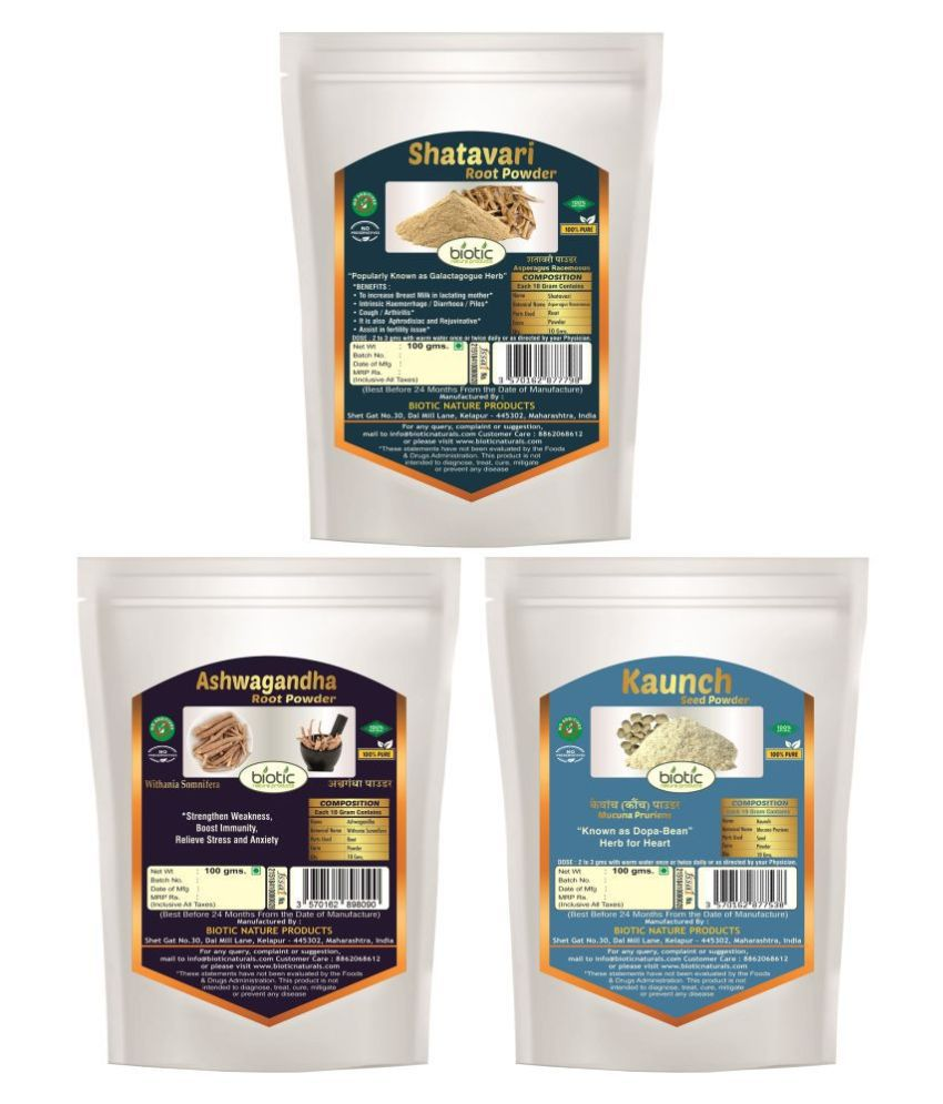 Biotic Ashwagandha, Shatavari and Kaunch Seed Powder Powder 300 gm