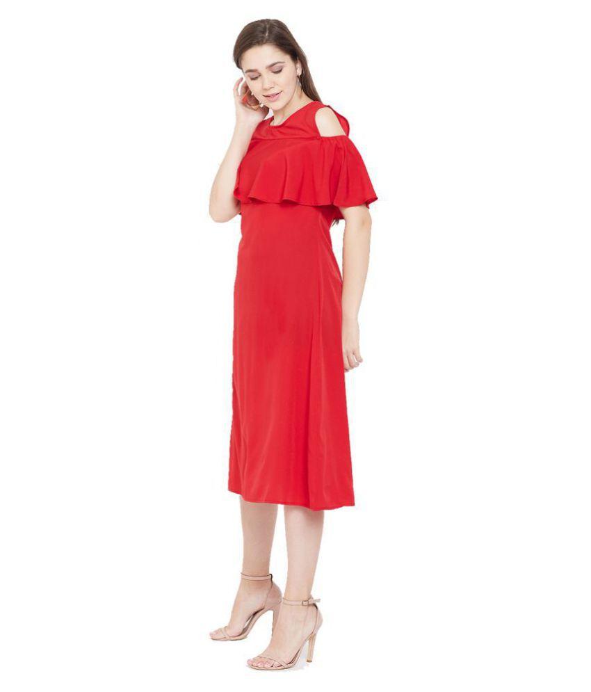 Cottinfab Crepe Red A- line Dress