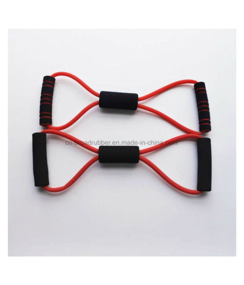 AJRO DEAL 8 Shape Resistance Band Gym Accessories Toning Tube for Yoga Pilates Workout Exercise Fitness Equipment Chest Expander