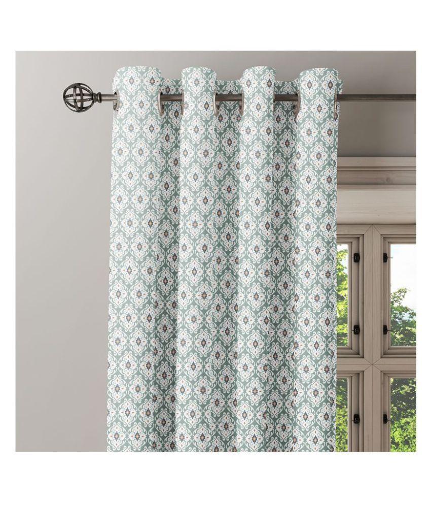 Ixora Decor Set of 2 Window Eyelet Cotton Curtains Light Green