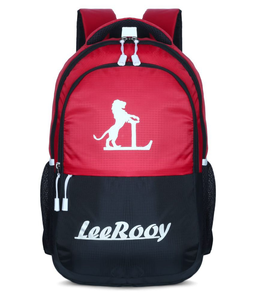 LeeRooy Red Canvas College Bag
