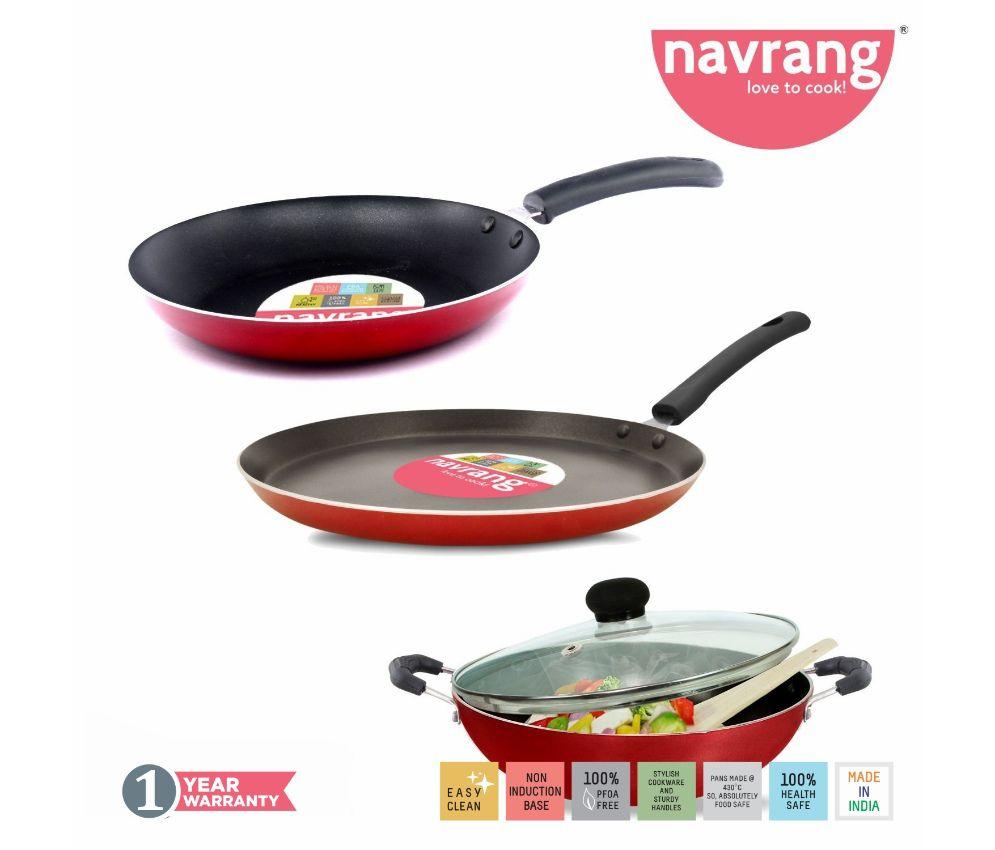 Navrang Nonstick Aluminium 4 PC HEAVY Cookware Set ,Tawa 275 + Kadai 240 + Fry Pan 240+ Glass Lid 240,Red NON-INDUCTION