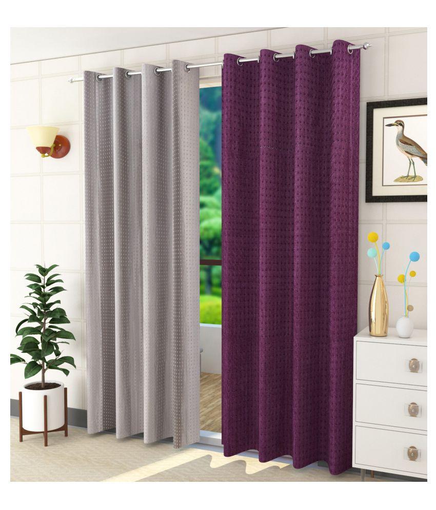 Sheen Decor Set of 2 Door Blackout Room Darkening Eyelet Polyester Curtains Multi Color