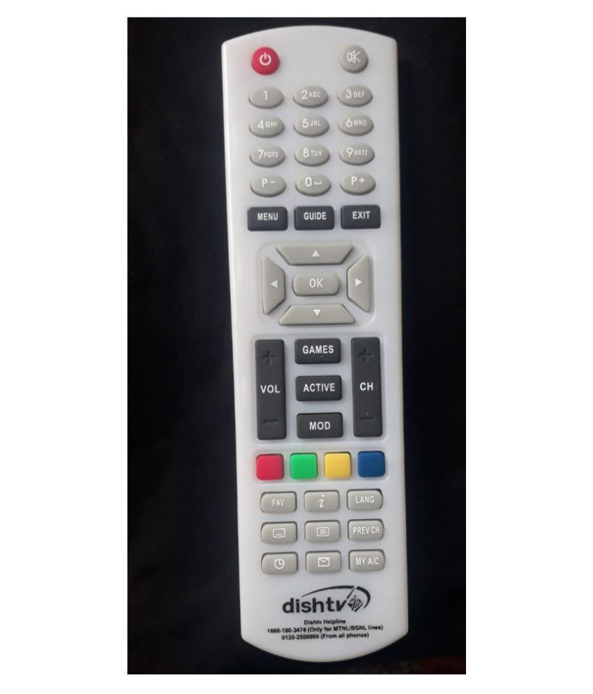 Gurleen traders Dishtv dth white DTH Remote Compatible with dishtv