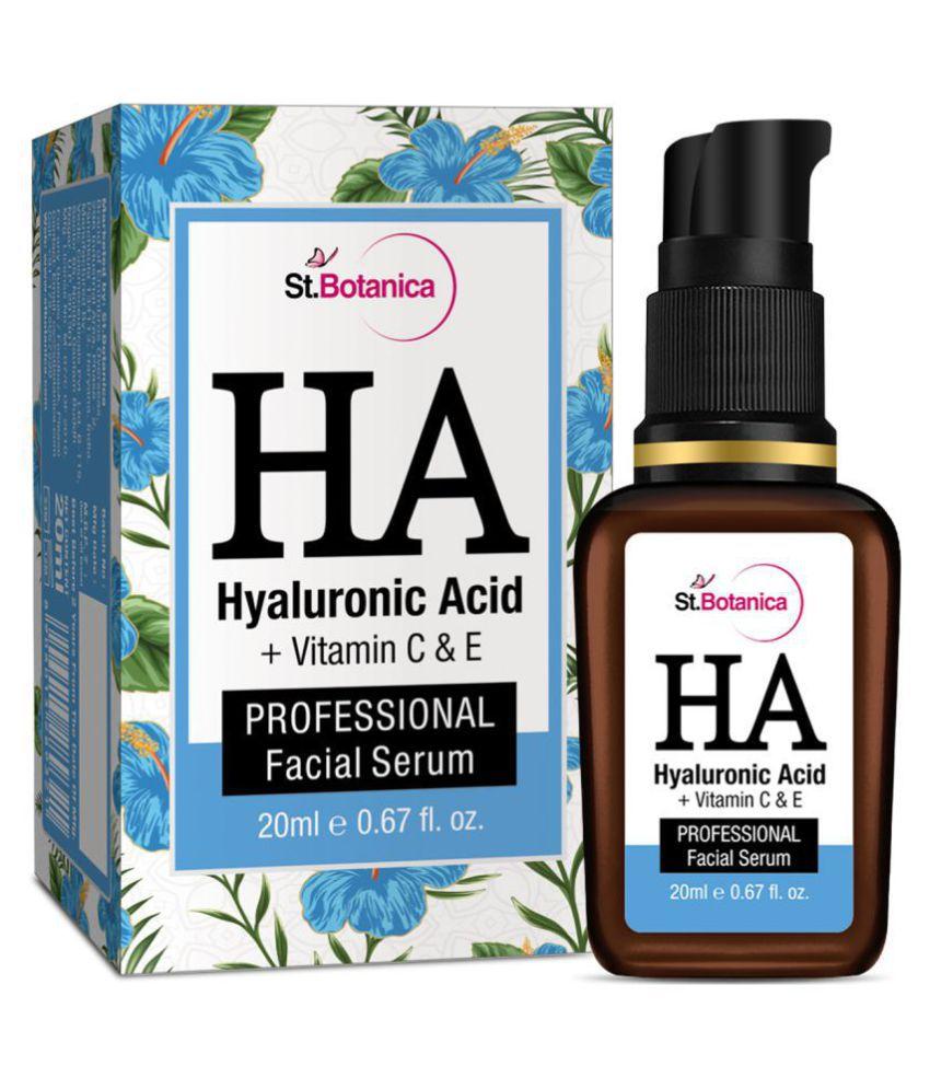 StBotanica Hyaluronic Acid Facial Serum + Vitamin C, E - Under Eye Dark Circles & Anti Aging Face Serum 20 mL