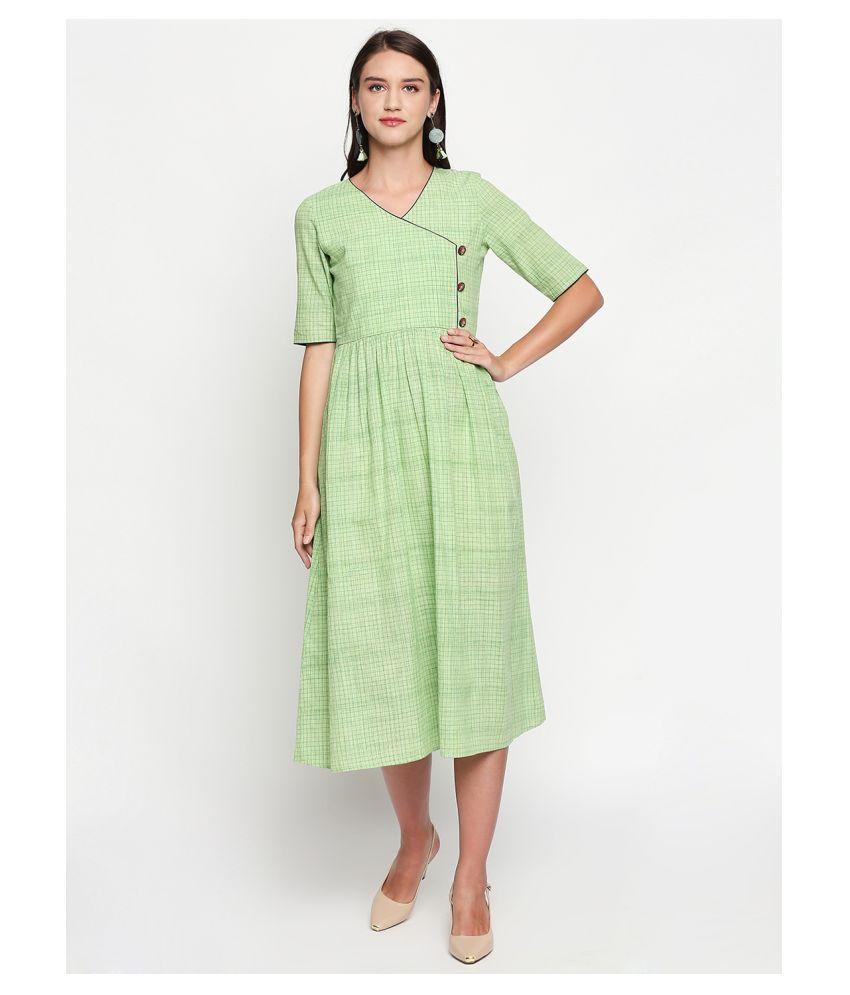 Maahi Green Cotton Pleated Kurti
