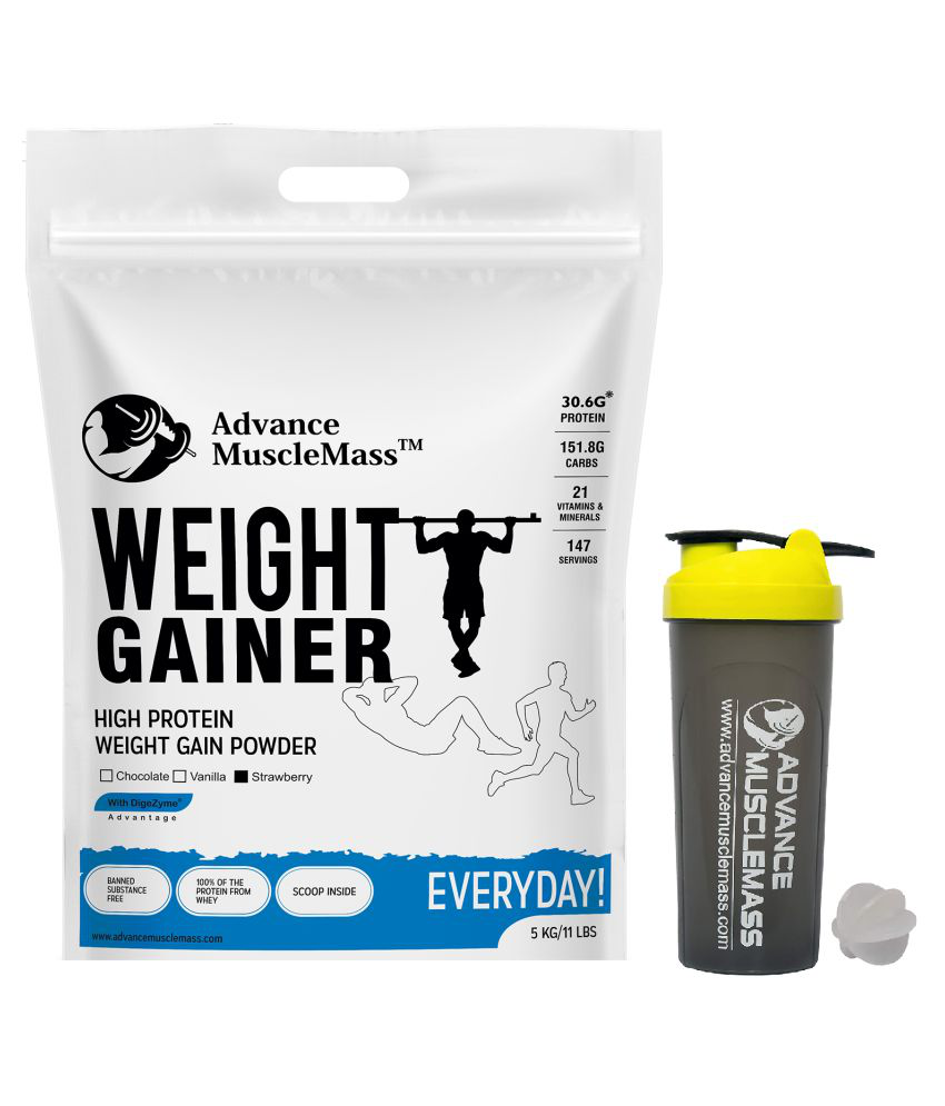 Advance MuscleMass Weight Gainer Digestive Enzyme with shaker (700ml) 5 kg Weight Gainer Powder