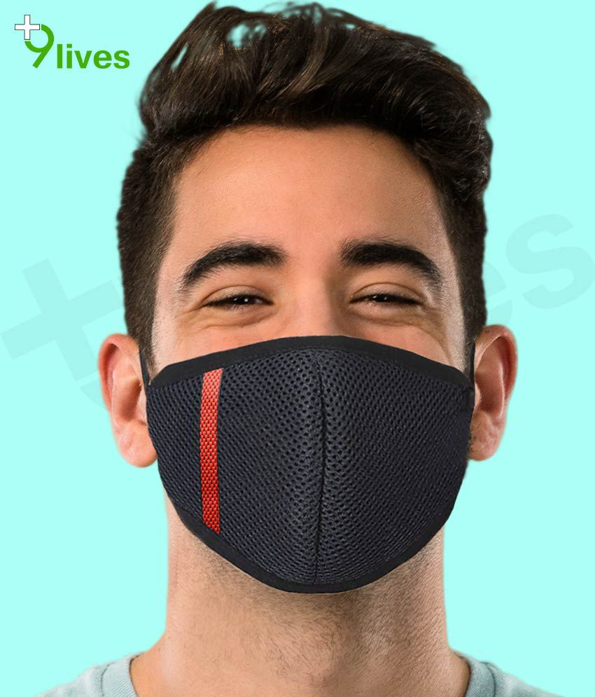 9lives 6 Layer Black DN95 Anti Pollution Face Mask-Pack of 1