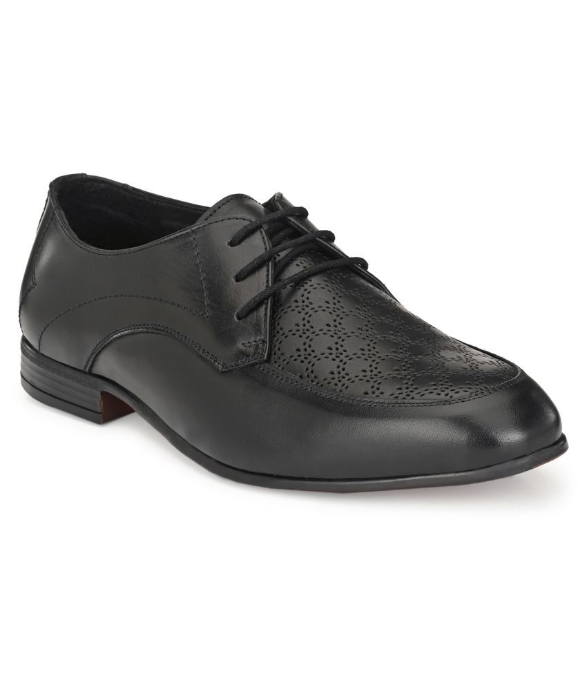 JENJA Derby Genuine Leather Black Formal Shoes