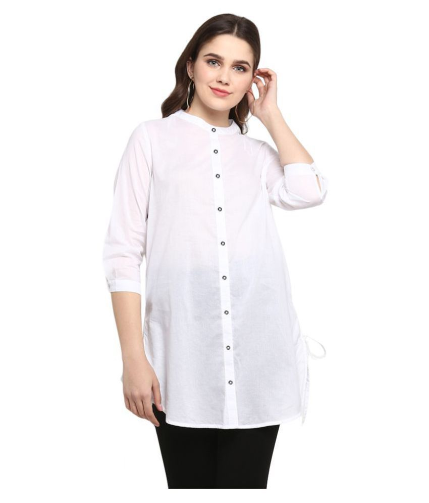 Mode By Red Tape Cotton Tunics - White