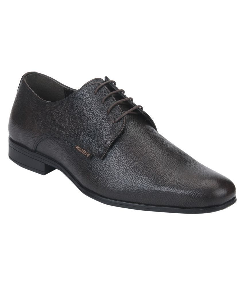 Red Tape Derby Genuine Leather Brown Formal Shoes
