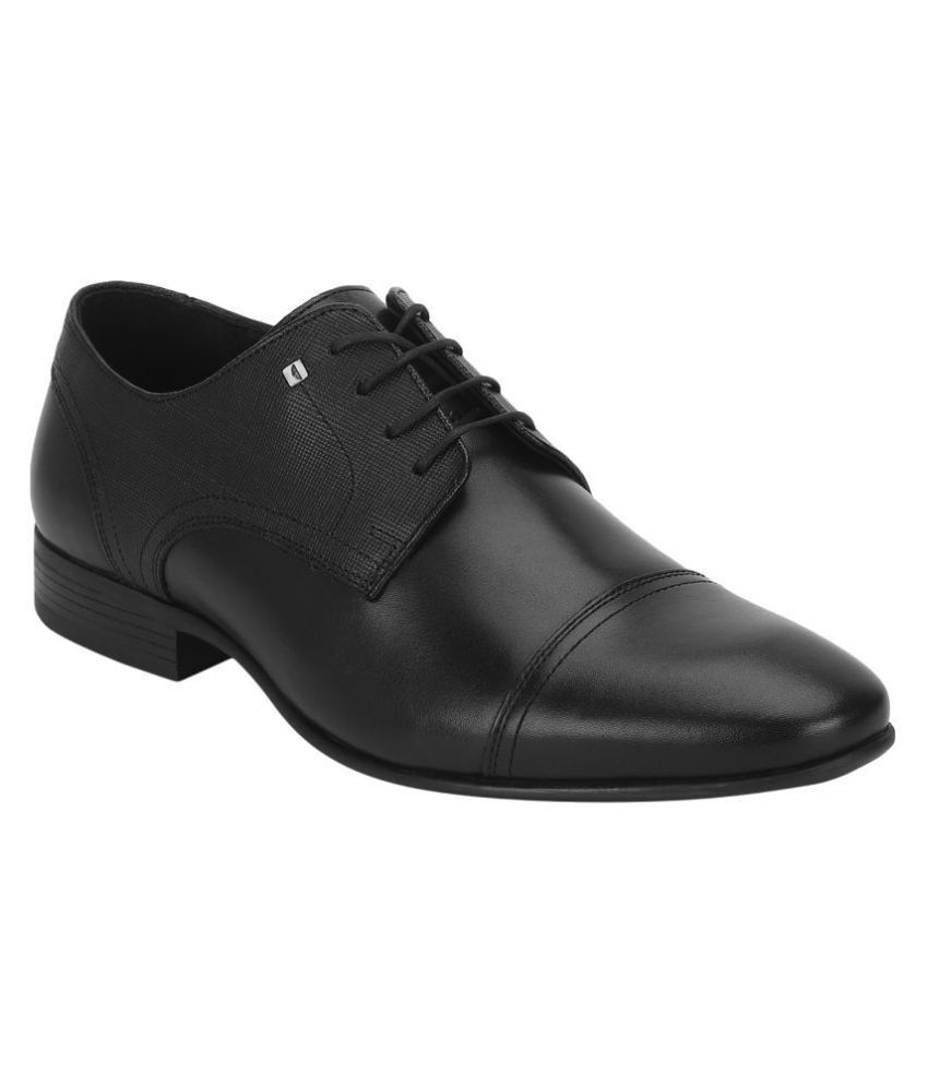 Red Tape Derby Genuine Leather Black Formal Shoes
