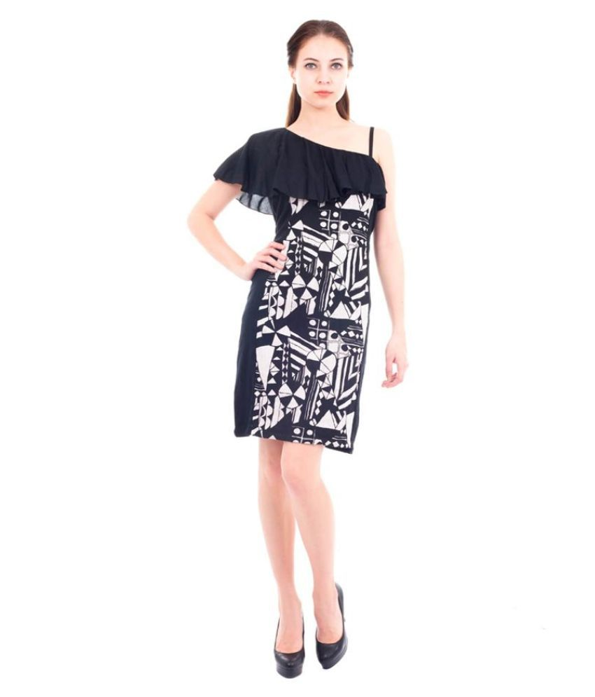 Forever9teen Rayon Black Regular Dress