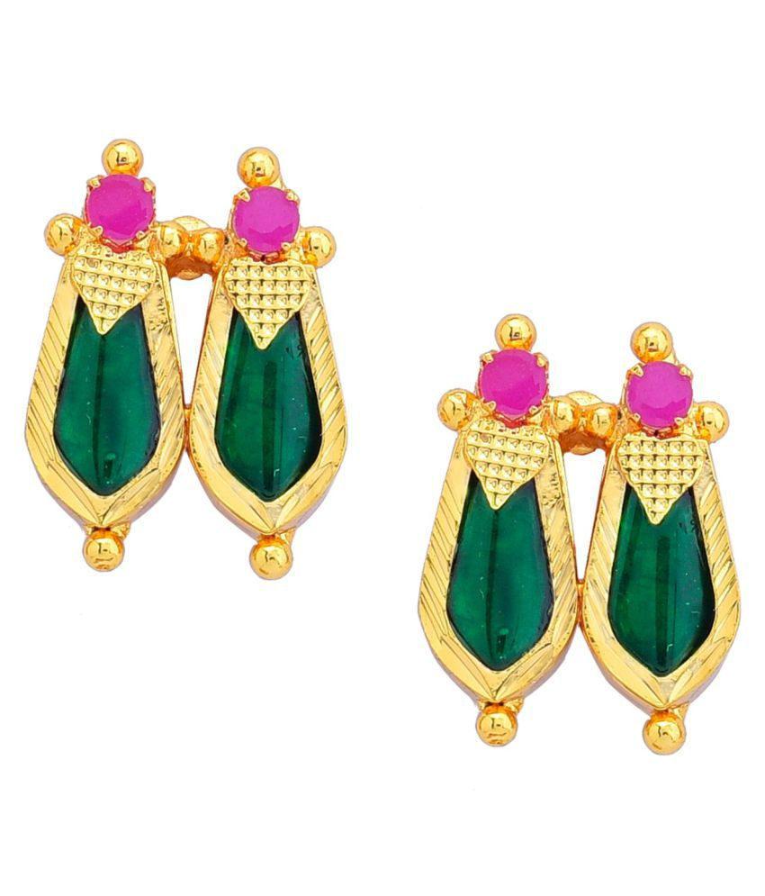 Sandras Trend Prathyasa Copper Ornaments||gold plated copper earing||red iratta nagapadam||medium sized
