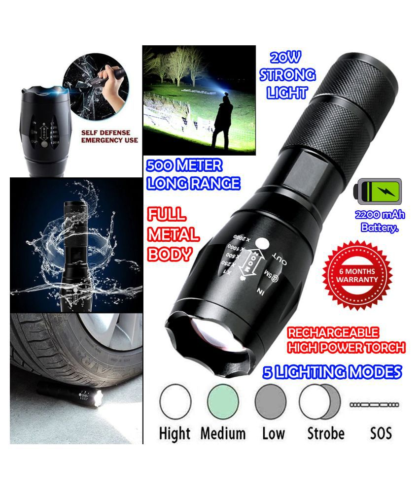 DGM 500 Meter Beam Zoomable Waterproof Chargeable LED 5 Mode Full Metal Body	Hom 20W Flashlight Torch Home / Outdoor Lamp - Pack of 1